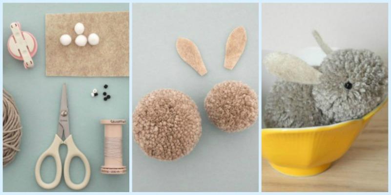 como hacer un conejito de peluche con pompones